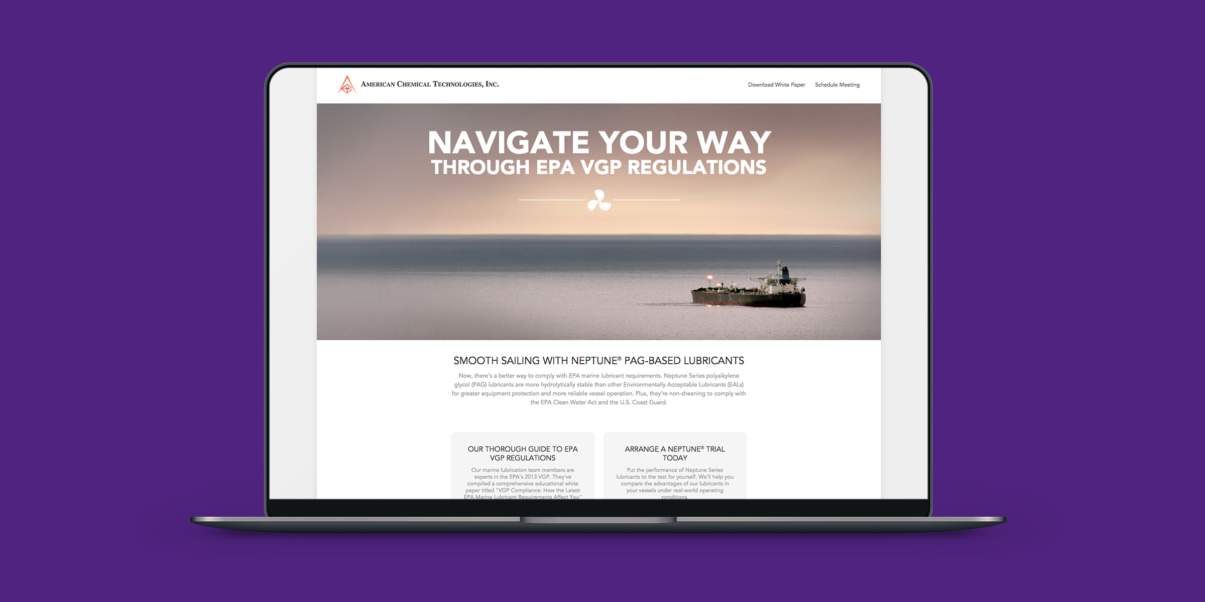 American Chemical Technologies VGP Landing Page by Blue Flame Thinking