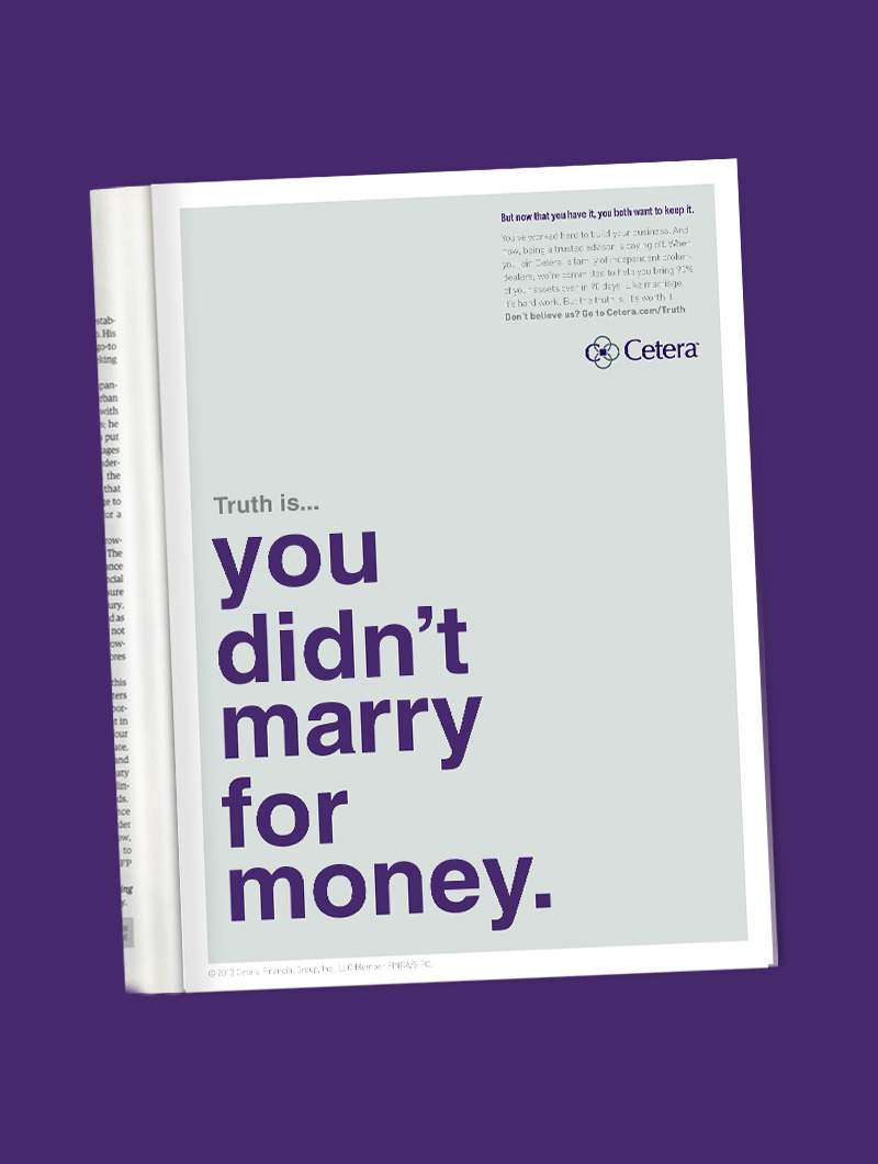 Print ad for Cetera's recruiting campaign by Blue Flame Thinking.