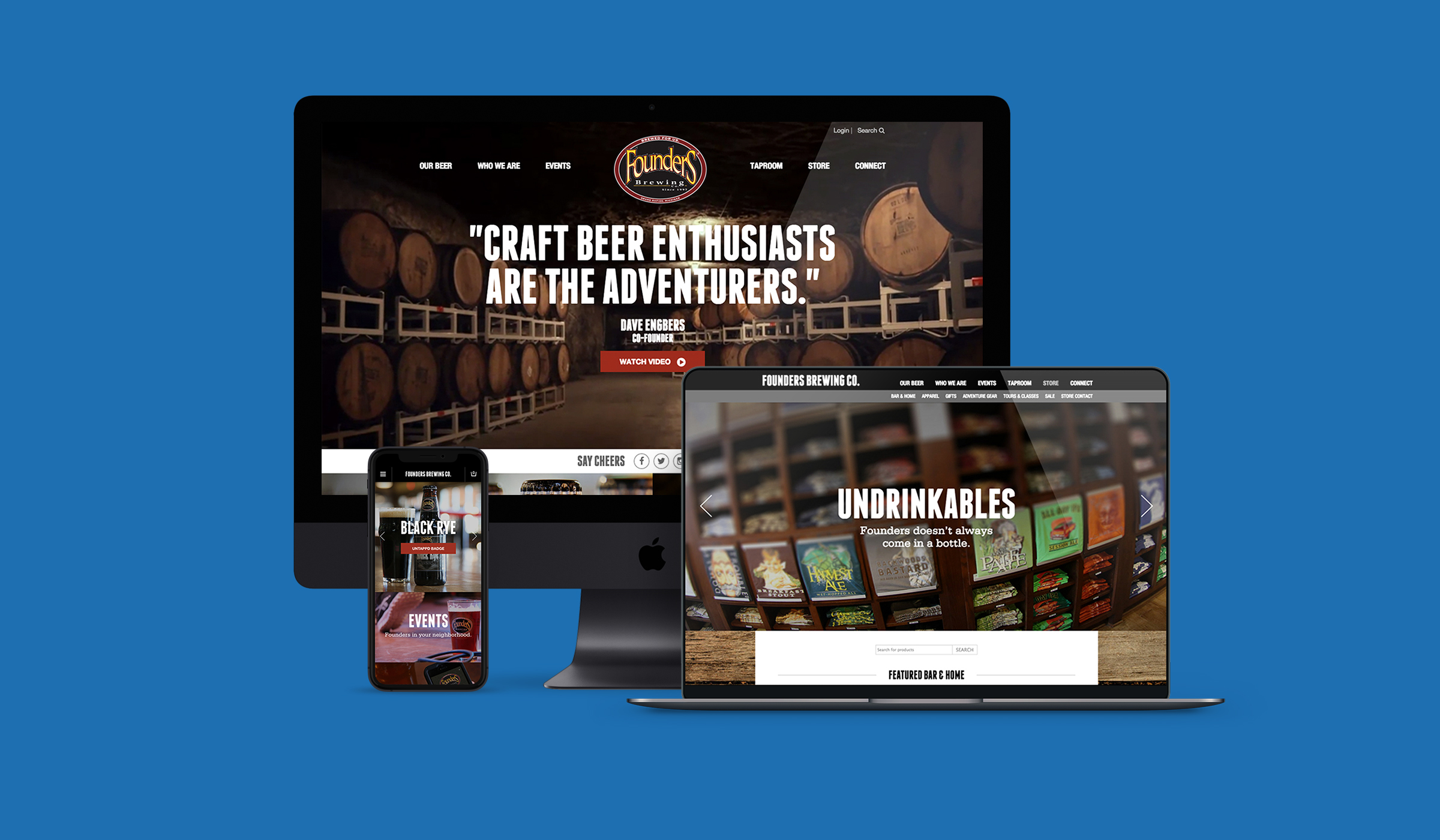 Founders Brewing Website Design by Blue Flame Thinking