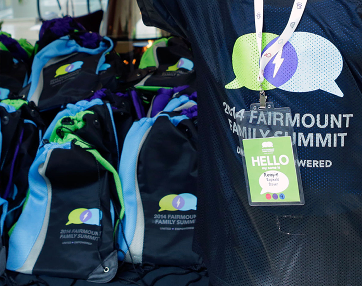Fairmount Family Summit badges and Shirts by Blue Flame Thinking