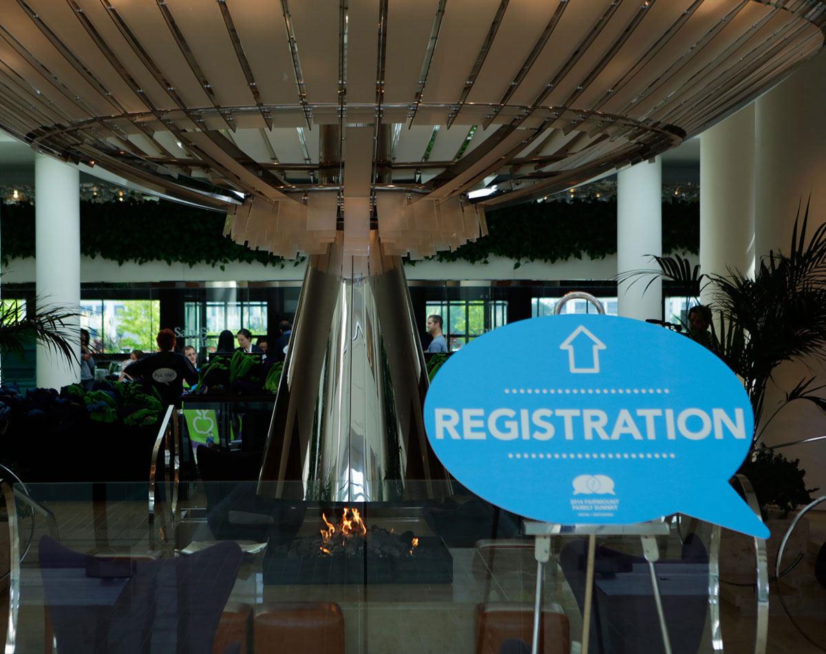 Fairmount Family Summit Lobby Signage by Blue Flame Thinking