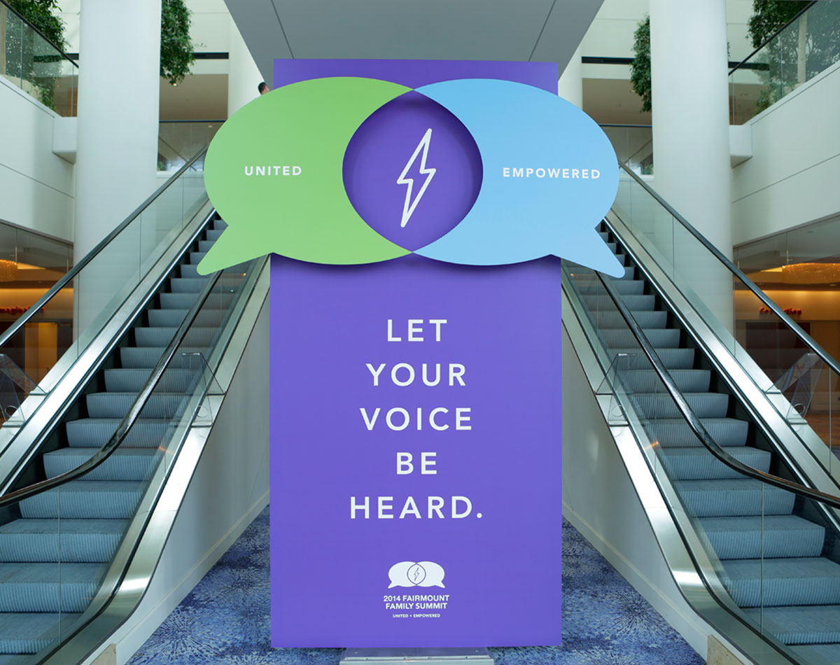 Fairmount Family Summit Escalator Signage by Blue Flame Thinking
