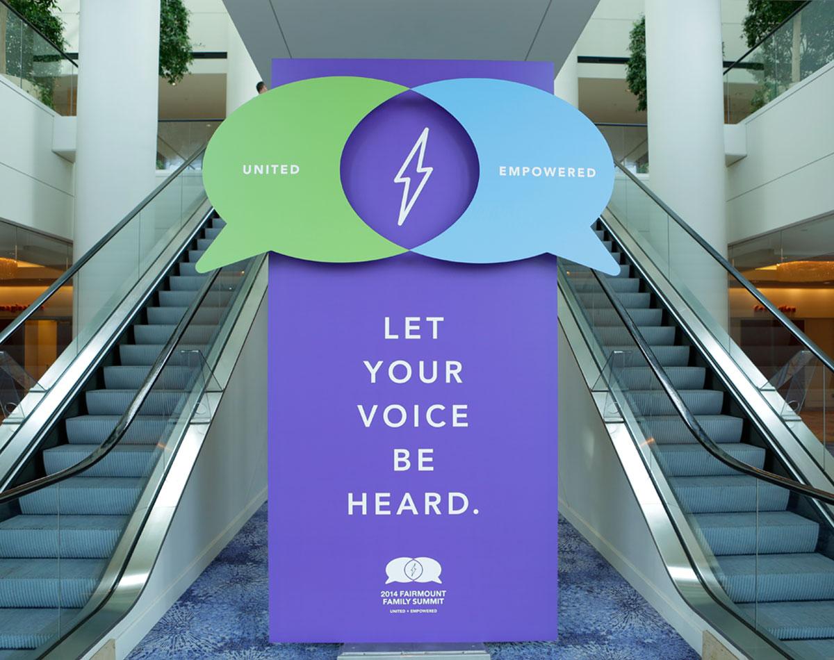 Fairmount Family Summit Escalator Signage by Blue Flame Thinking