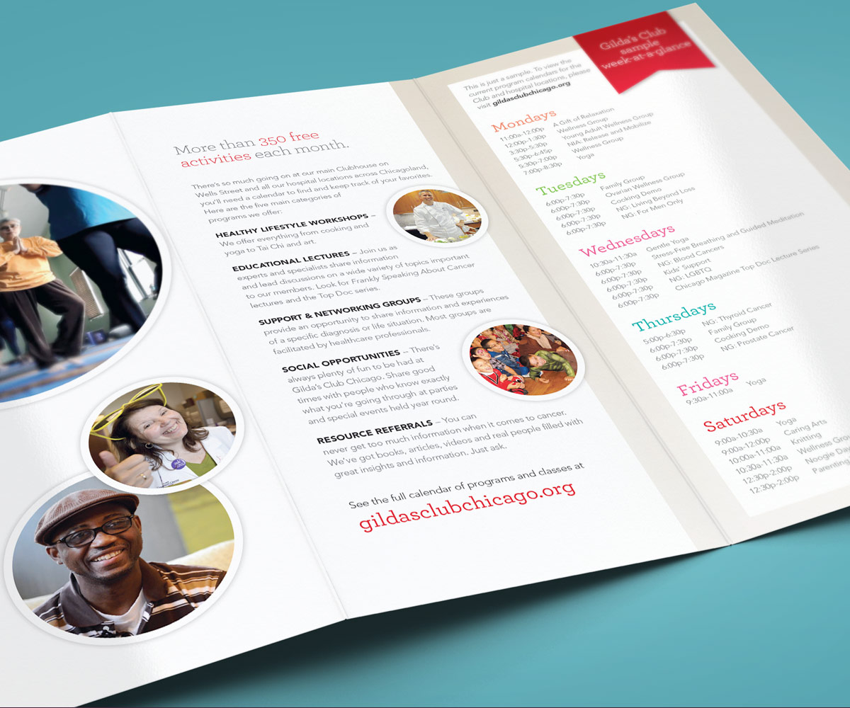 Tri-fold brochure by Blue Flame Thinking for Gilda's Club Chicago's awareness campaign.