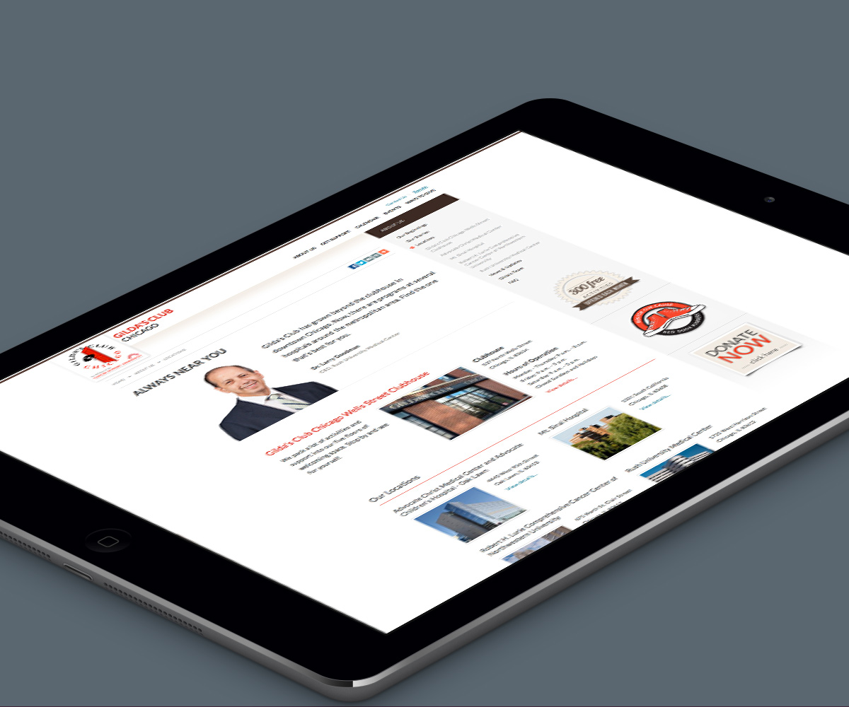 About Us landing page from Gilda's Club Chicago's awareness campaign created by Blue Flame Thinking and shown on tablet.