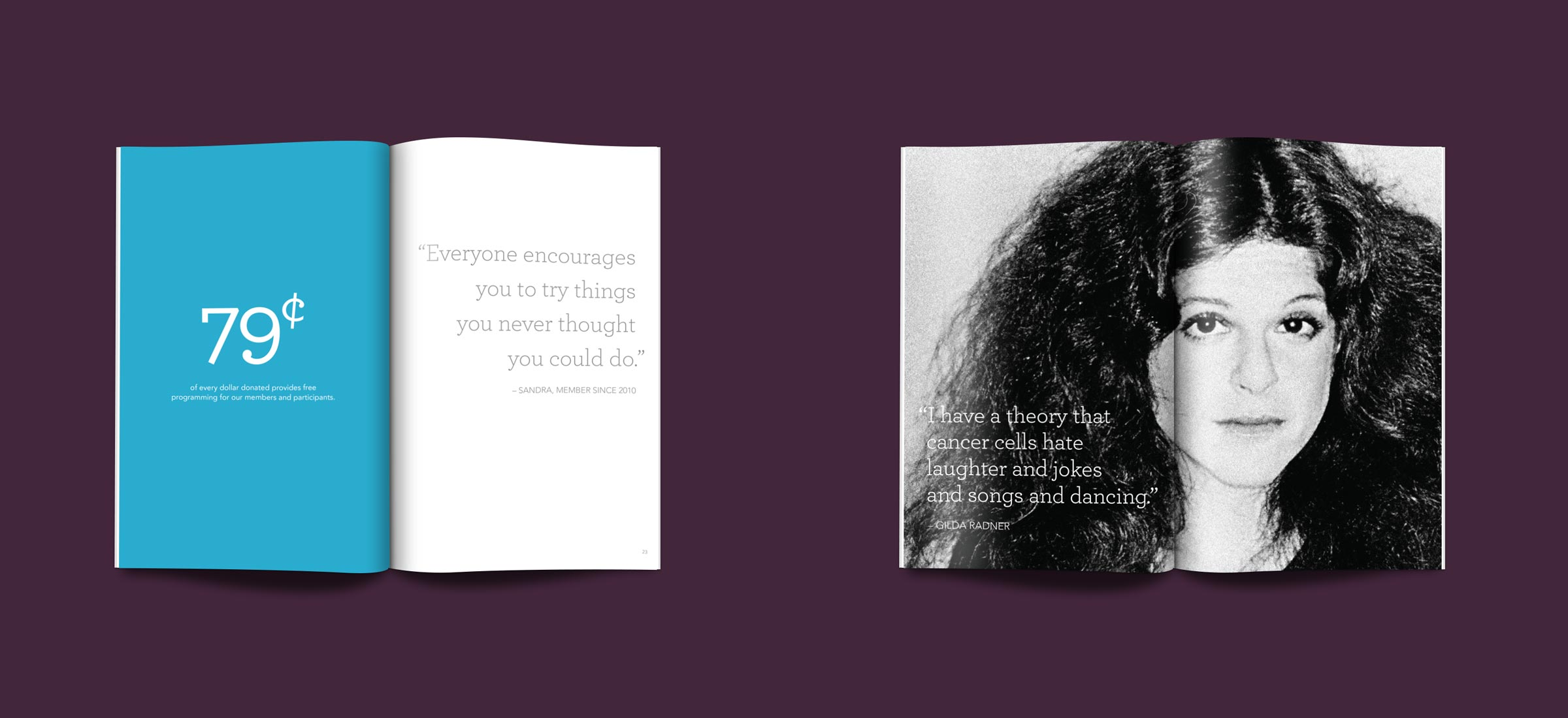 Print collateral created by Blue Flame Thinking for Gilda's Club Chicago's awareness campaign.