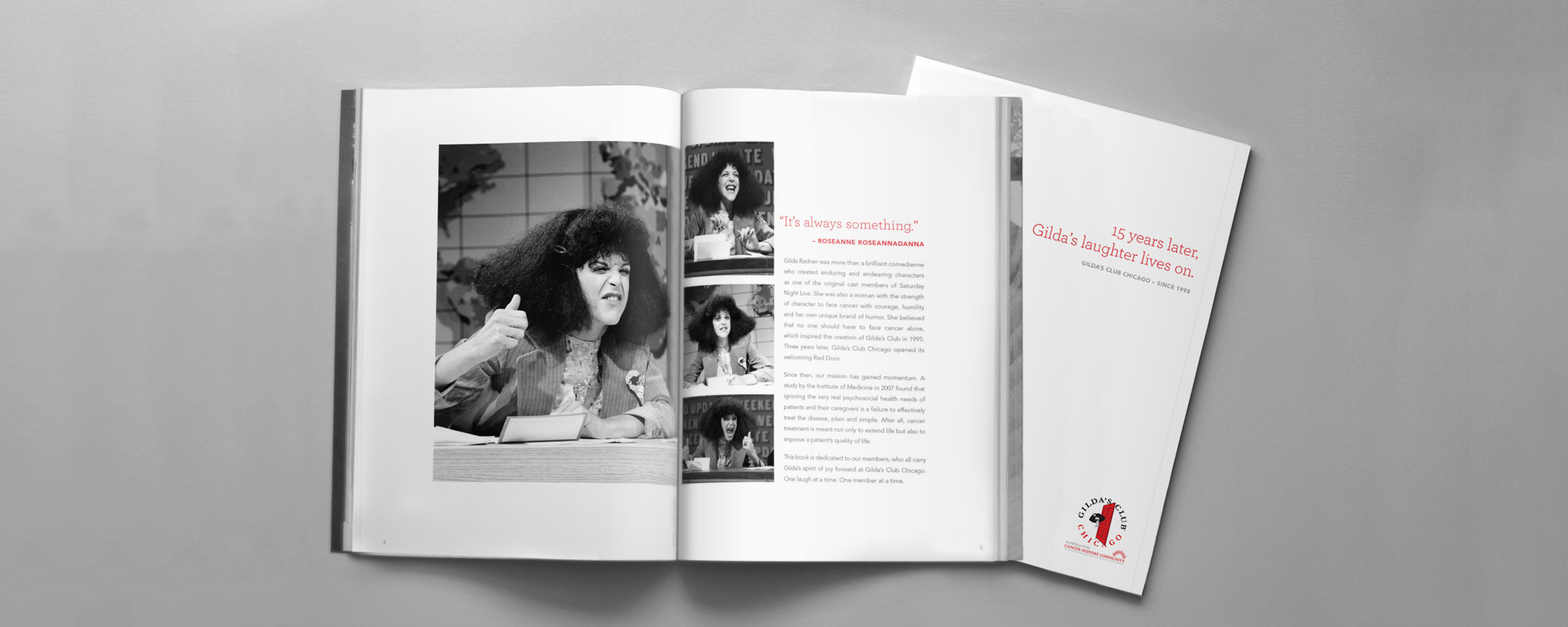 Spread from Gilda's Club Chicago anniversary book created by Blue Flame Thinking.