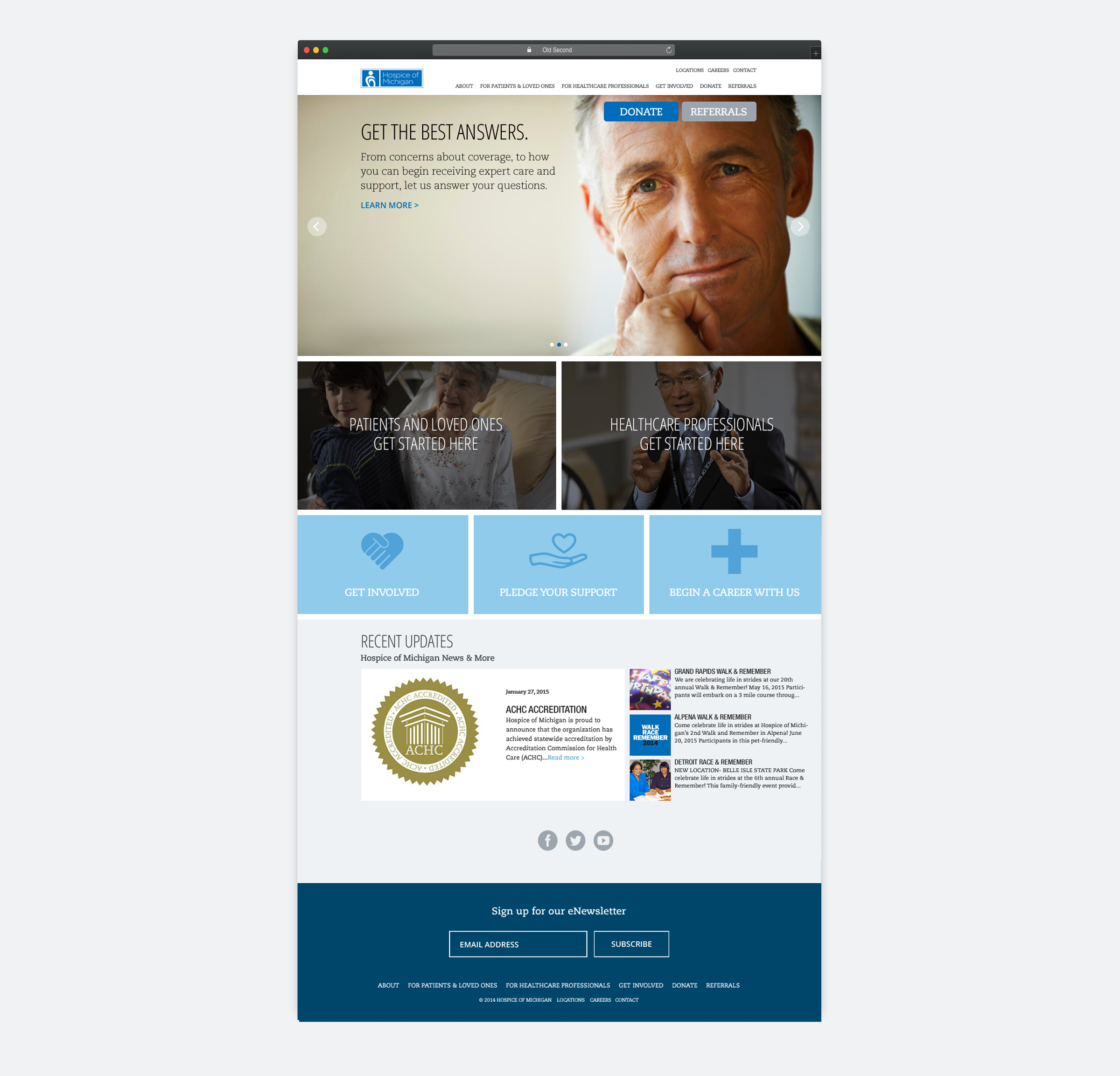 Hospice of Michigan homepage design by Blue Flame Thinking