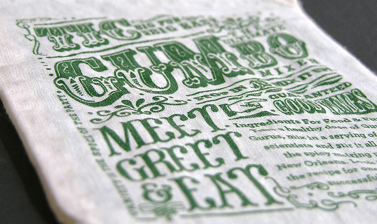 Printed muslin bag created by Blue Flame Thinking for TIC GUMs to hold event collateral.