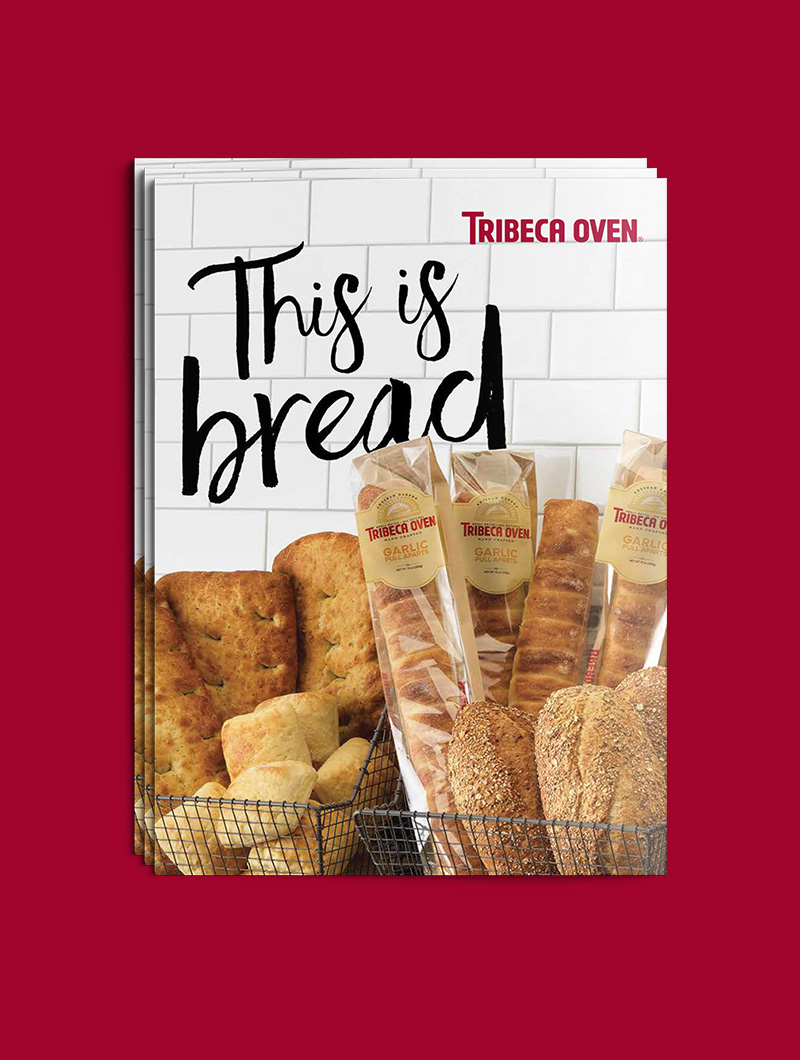 Brochure cover for Tribeca Oven by Blue Flame Thinking showing bread loaves.