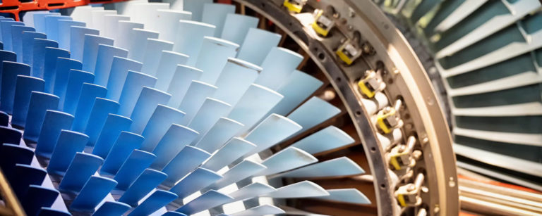 Turbine close up from digital and print campaign Blue Flame Thinking created for American Chemical Technologies.