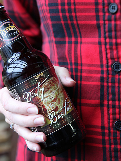 Blue Flame Thinking built a website for Founders Brewing that features a hand holding a bottle of Dirty Bastard beer.