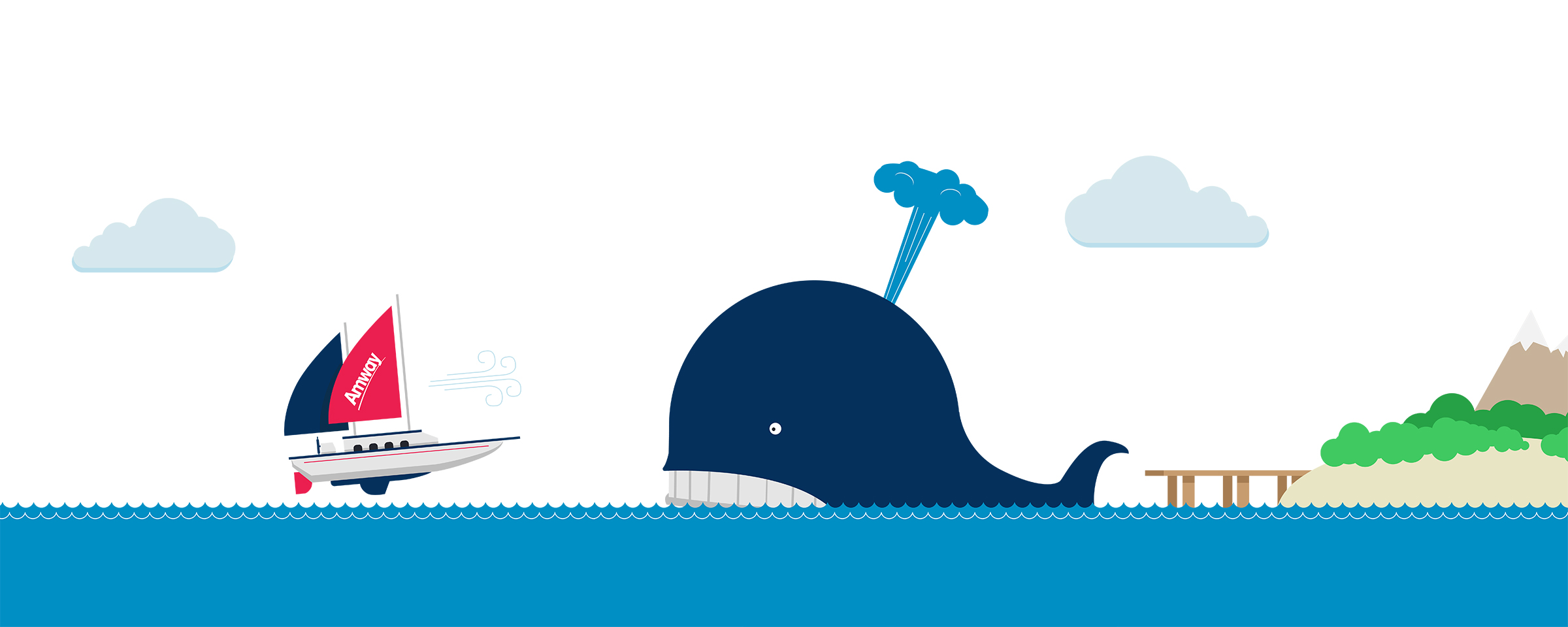 Blue Flame Thinking created this illustration of a sailboat and a whale for Amway's social content strategy.