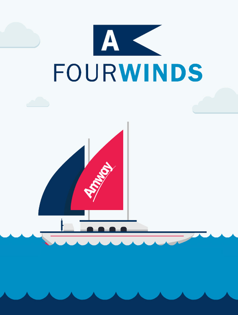 Still of a sailboat from a GIF created by Blue Flame Thinking for Amway's social content campaign.