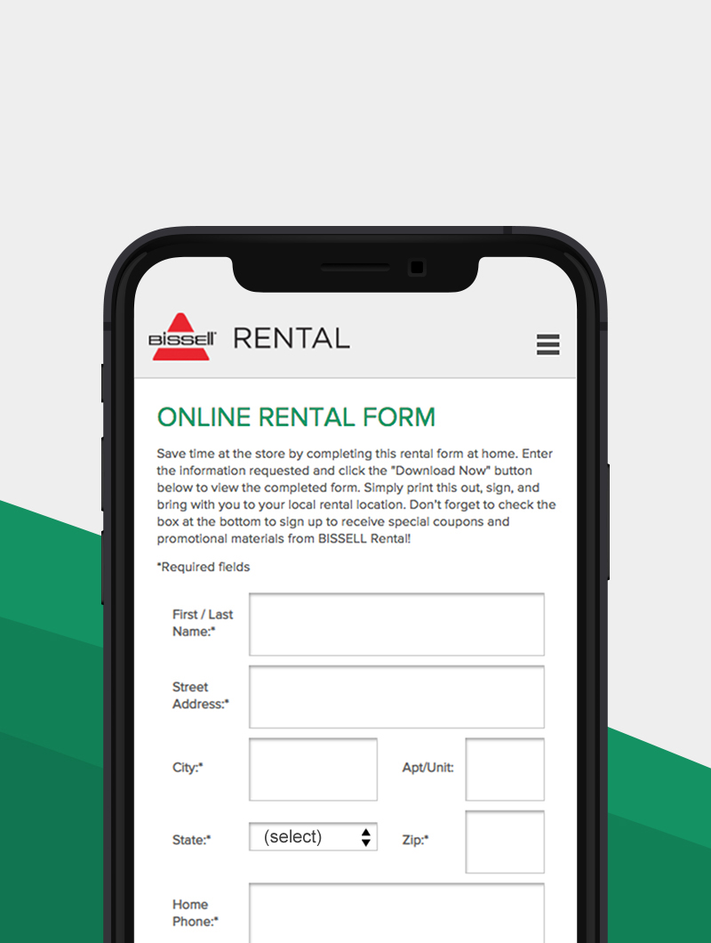 Bissell Online Rental Form Work Thumbnail for Blue Flame Thinking