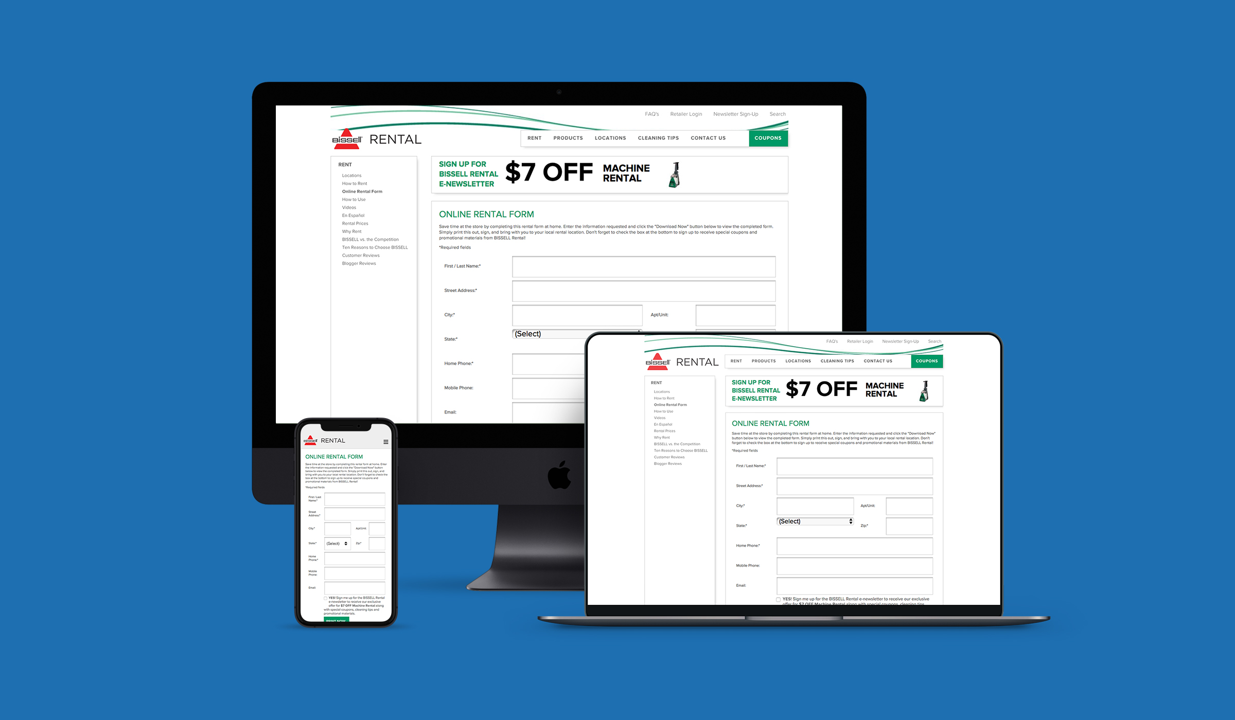 Bissell Online Rental Form Interface by Blue Flame Thinking