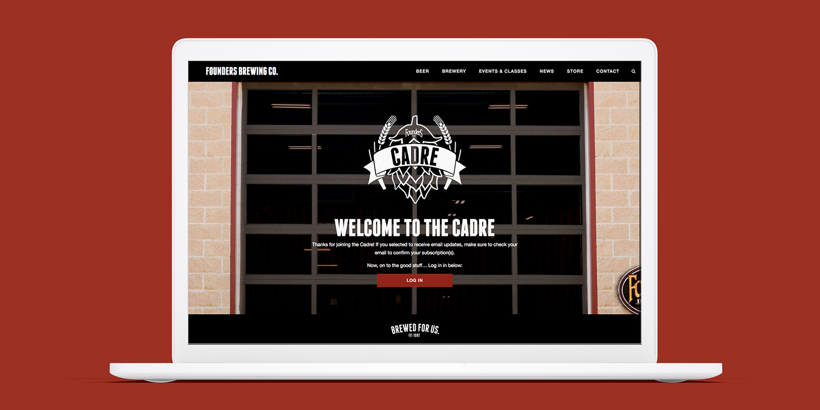 Cadre Log in Screen for Founders brewing Co. By Blue Flame Thinking