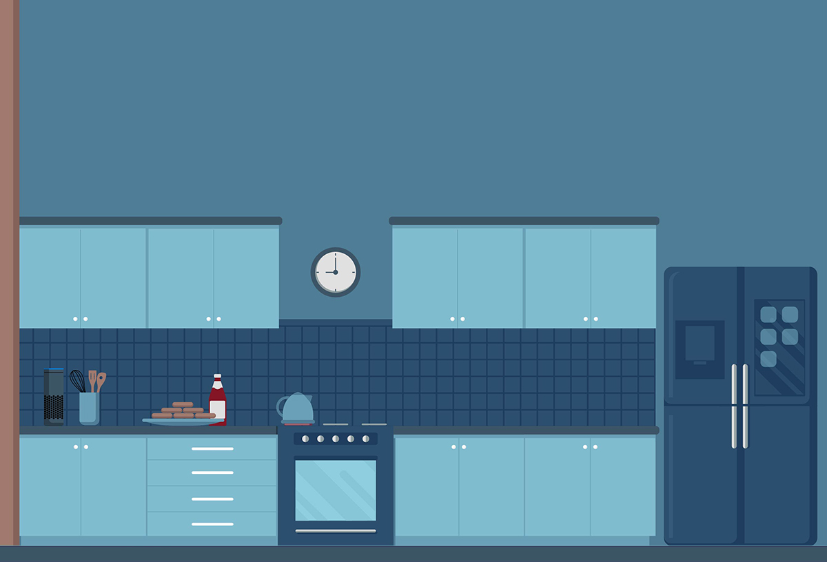One-half of an illustration of a kitchen Blue Flame Thinking created for Pentair's IntelliConnect launch video.