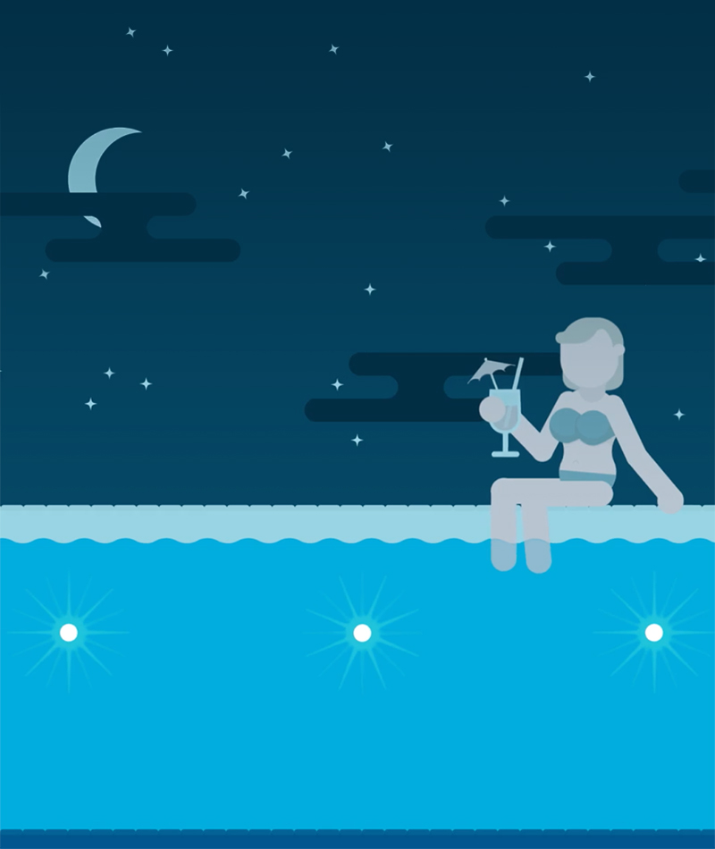 Night pool illustration by Blue Flame Thinking