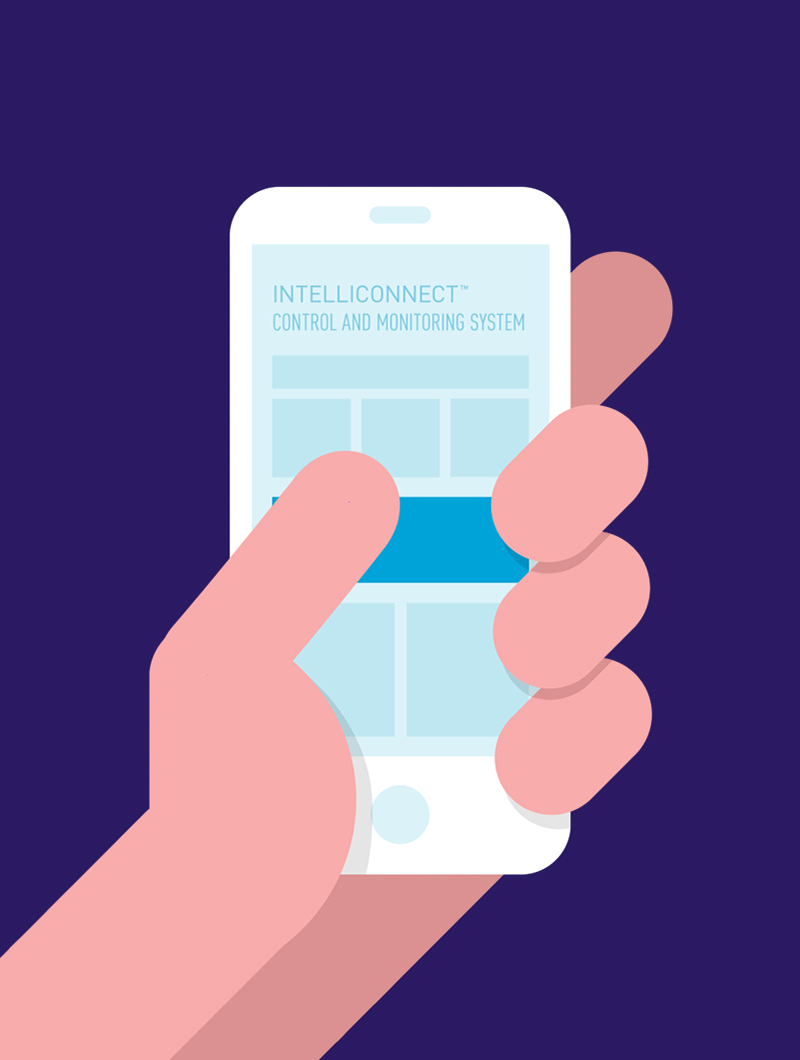 Blue Flame Thinking illustration of hand holding a cellphone displaying the IntelliConnect app for the product's video launch.