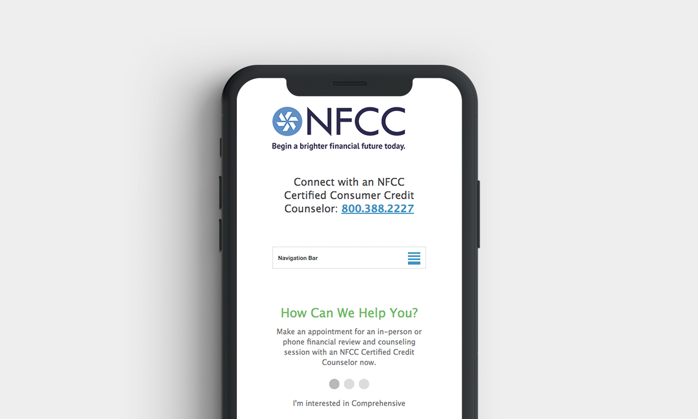 NFCC Online Locator Mobile View by Blue Flame Thinking
