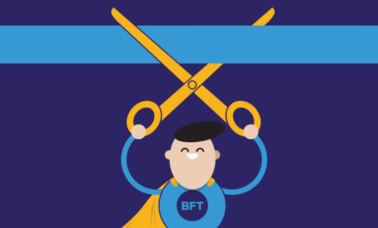 Google Featured Snippet Illustration of Super Blue Flame Thinking cutting a ribbon with scissors