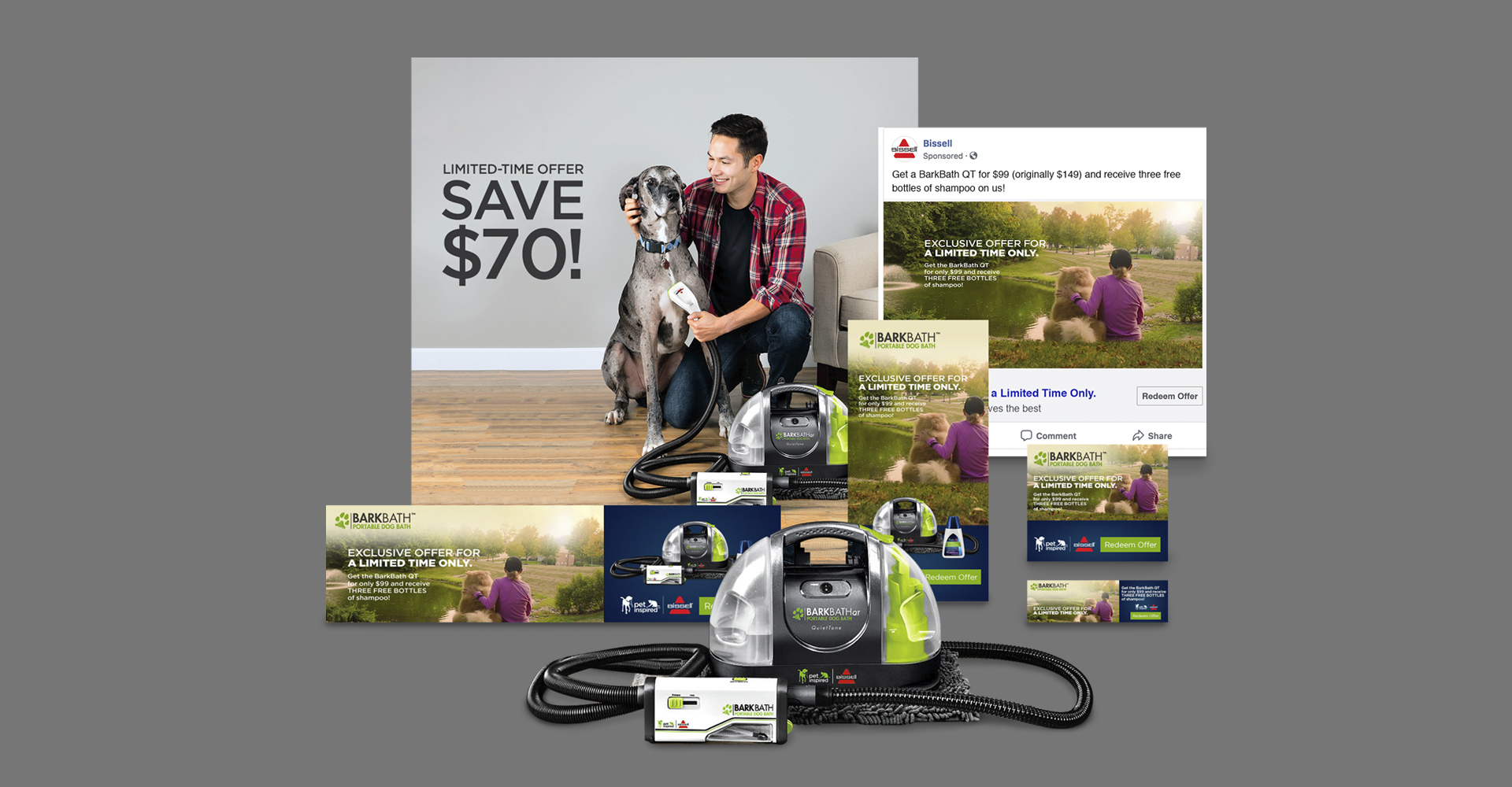 BISSELL BARKBATH™ Product Launch Campaign ad, social and layout design by Blue Flame Thinking
