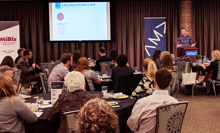 Josh Stauffer speaking at American Marketing Association-West Michigan luncheon