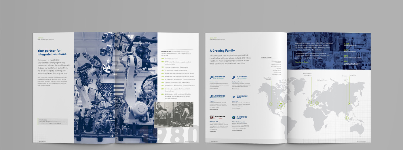 JR Automation Global Capabilities Brochure Spread One by Blue Flame Thinking