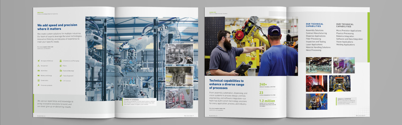 JR Automation Global Capabilities Brochure Spread Two by Blue Flame Thinking