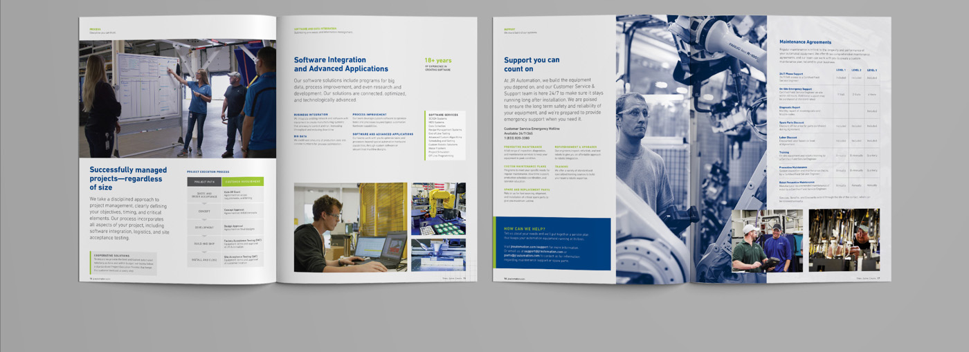 JR Automation Global Capabilities Brochure Spread Three by Blue Flame Thinking