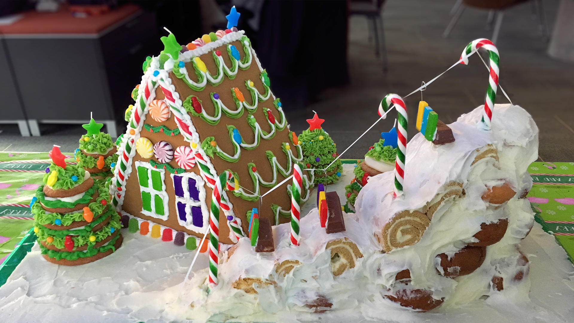 Gingerbread house and ski slope creation for BFT's 2018 Holiday Hurrah