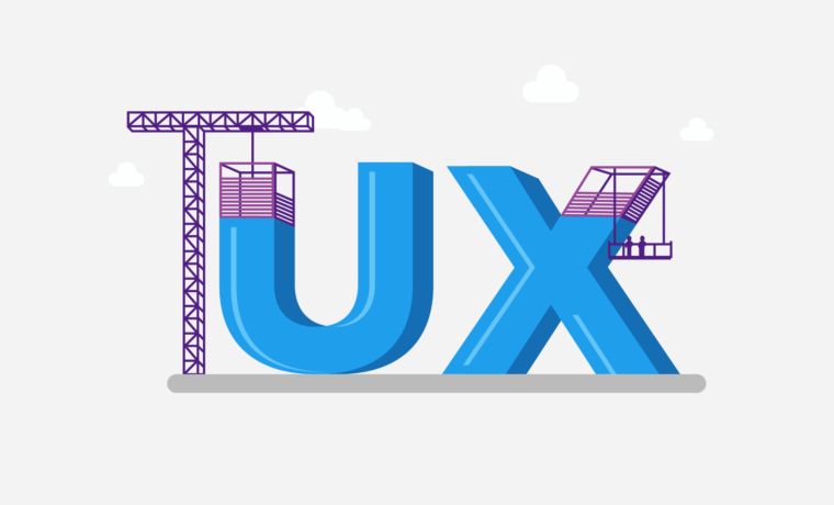 UX letters designed as a construction zone