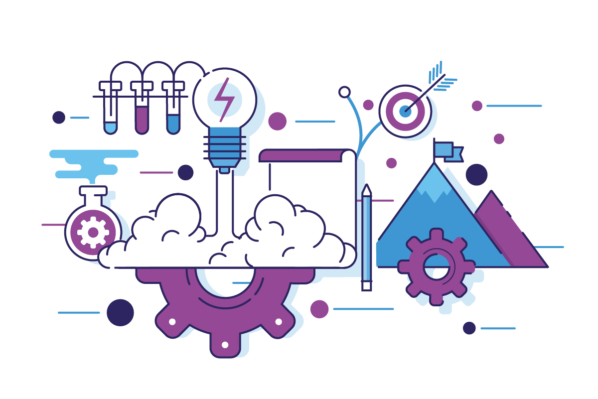 Strategy marketing services graphic with gears, paper and pencil, and lightbulb