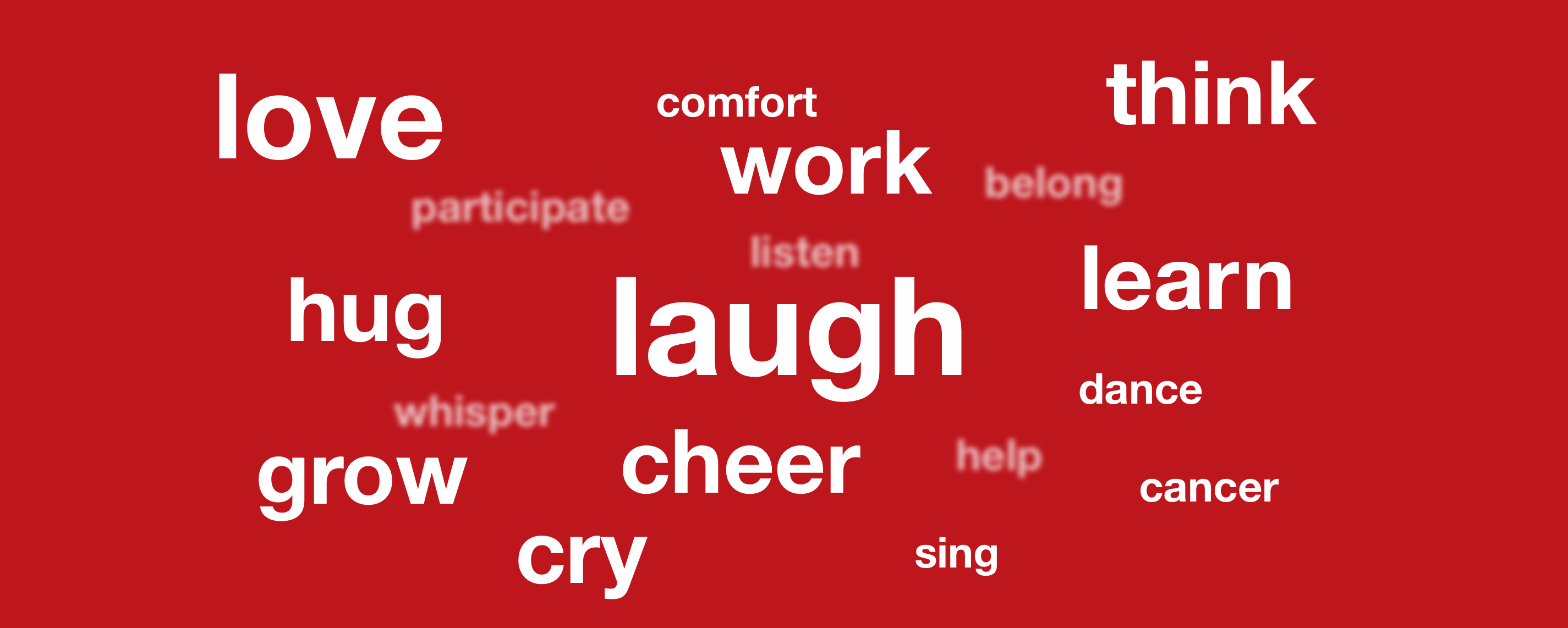 white text on red background with words like laugh, love, hug