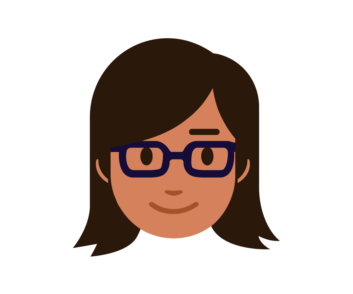 Penny the chatbot profile illustration of a friendly woman with brown hair and glasses