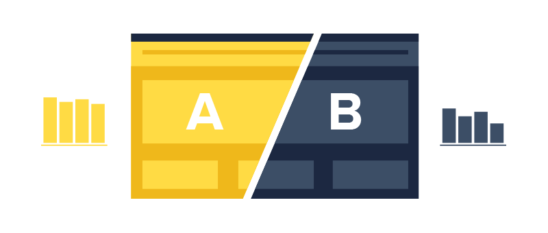 Website illustration split with an A and B demonstrating AB optimization and testing