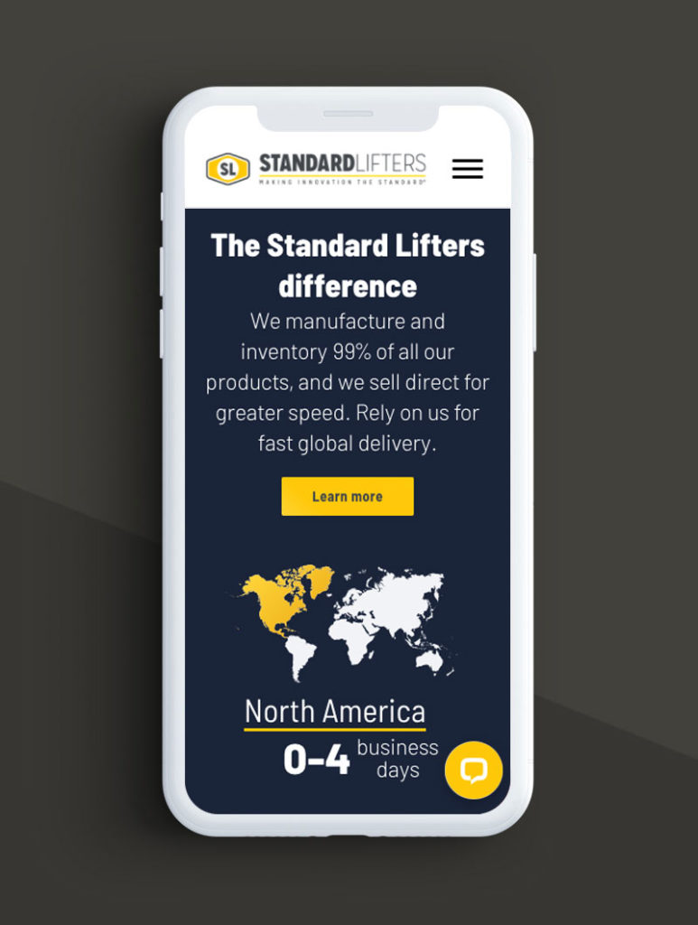 Mobile phone mock up with Standard Lifters home page screen