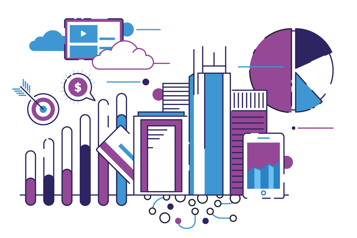 Illustration of overlapping financial icons in purple and blue