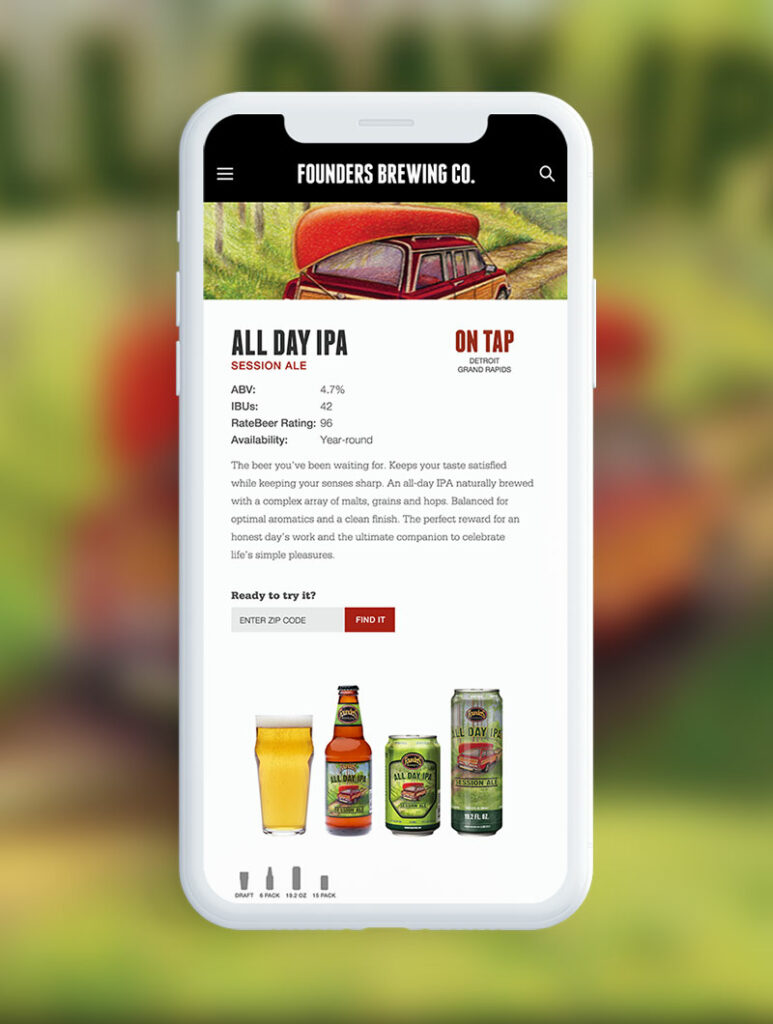 Founders Brewing website displayed on mobile phone