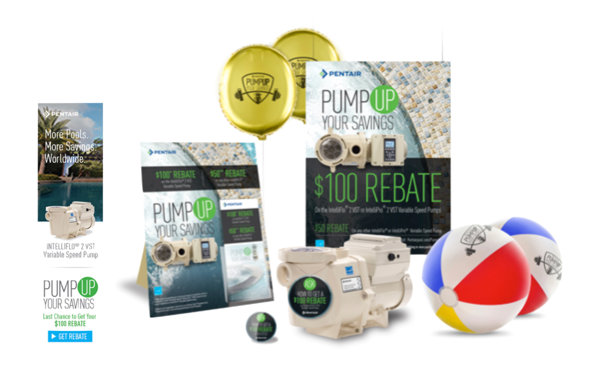 Pentair rebate campaign digital and print media including beach balls, stickers, print posters, balloons, and digital banners