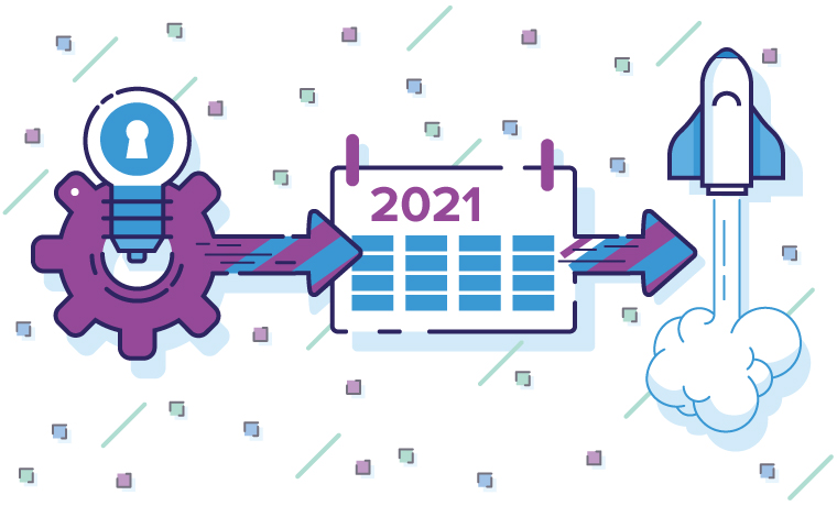 Illustration of 2021 marketing strategy planning and launching processes